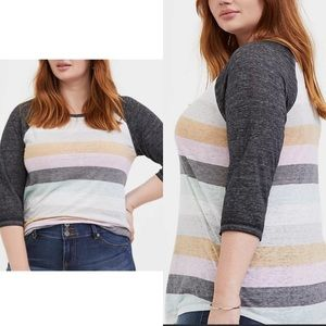 Torrid Striped Baseball Tee Classic Fit Size 2X